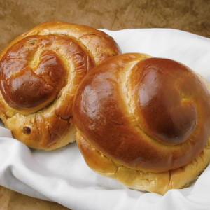 Two Round Challah Bread Rolls